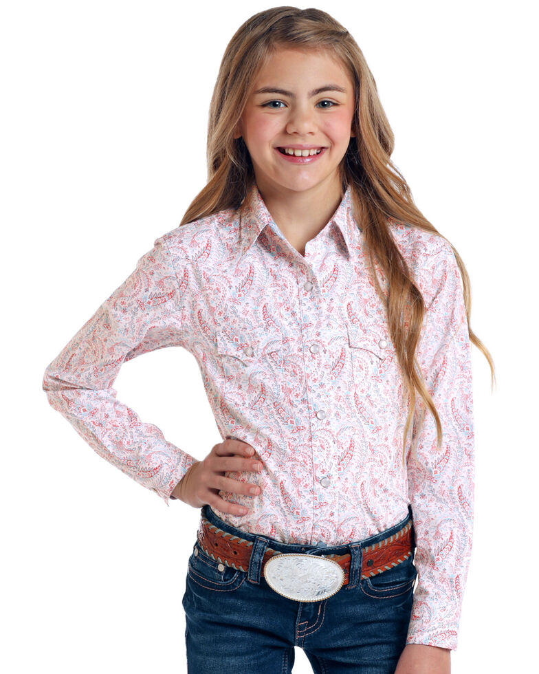 Rough Stock by Panhandle Girls' Ozeta Antique Print Long Sleeve Shirt, White, hi-res
