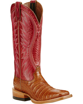 Ariat Vaquera Oiled Caiman Belly Cowgirl Boots - Square Toe, Tan, hi-res