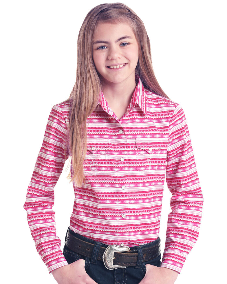 White Label by Panhandle Girls' Pink Aztec Print Long Sleeve Western Shirt , Pink, hi-res