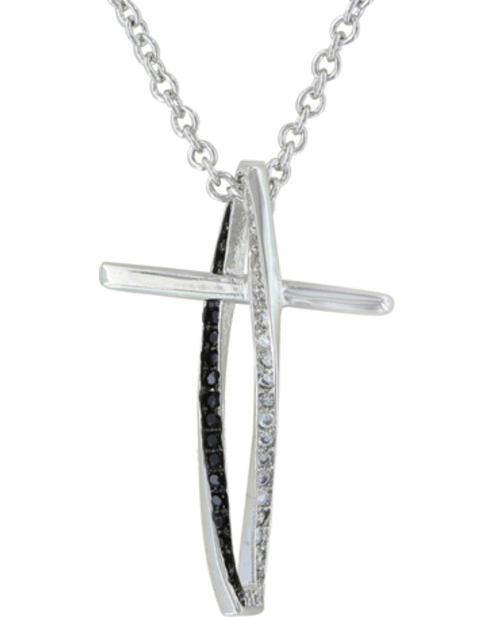 Montana Silversmiths Faith in Motion Cross Necklace, Silver, hi-res