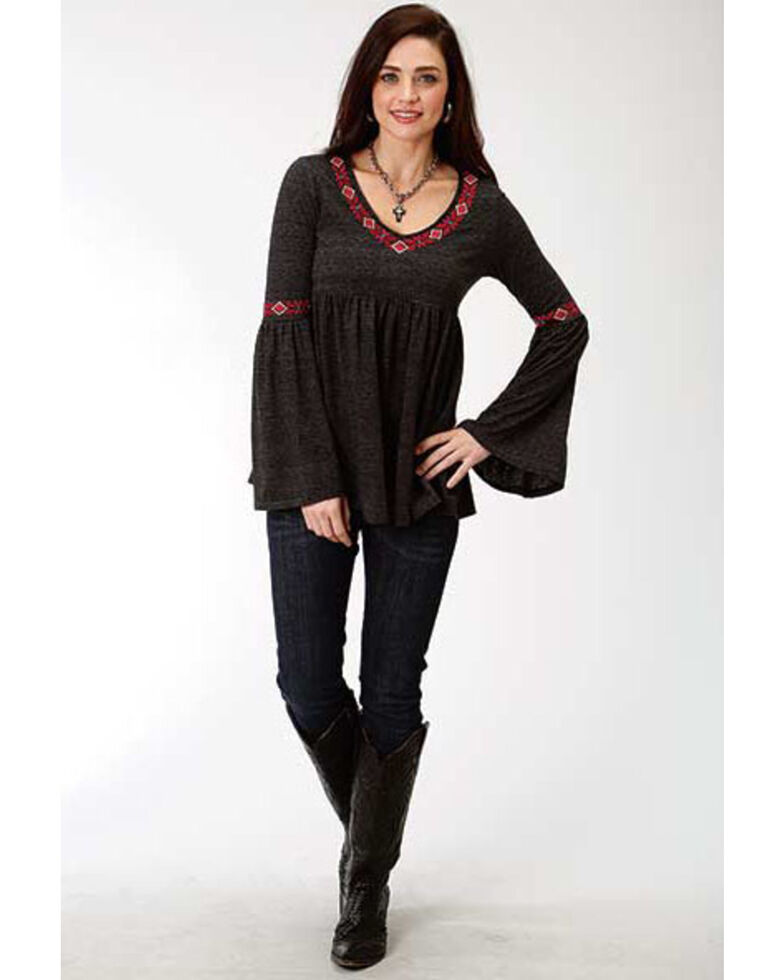 Studio West Women's Bell Sleeve Embroidered Top, Black, hi-res