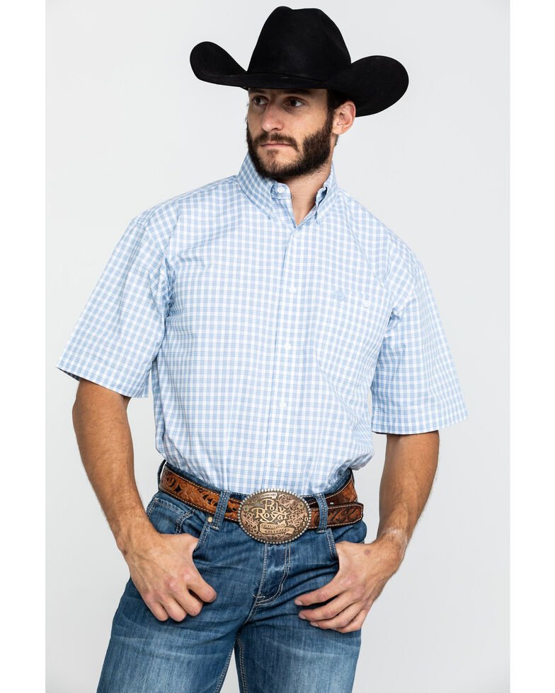 George Strait by Wrangler Men's Blue Small Plaid Short Sleeve Western Shirt , Blue, hi-res