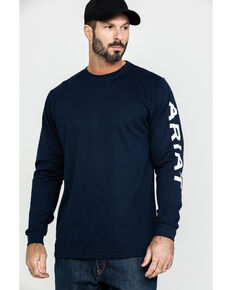 Ariat Men's FR Electric Graphic Long Sleeve Work T-Shirt - Tall , Navy, hi-res