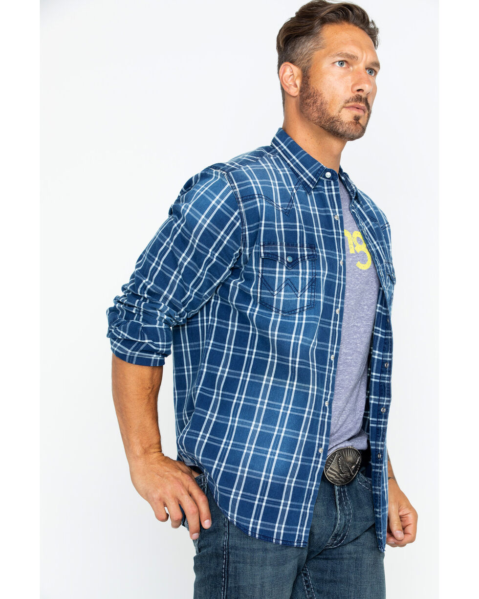 Wrangler Men's Long Sleeve Retro Premium Plaid Shirt , Indigo, hi-res