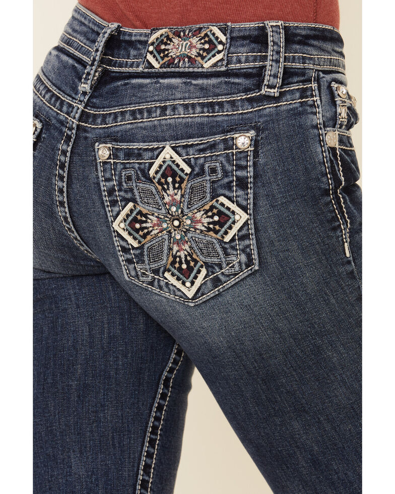 Miss Me Women's Embossed & Embroidered Cross Chloe Bootcut Jeans , Blue, hi-res
