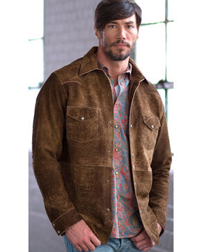 Ryan Michael Men's Painted Leather Shirt Jacket, Brown, hi-res