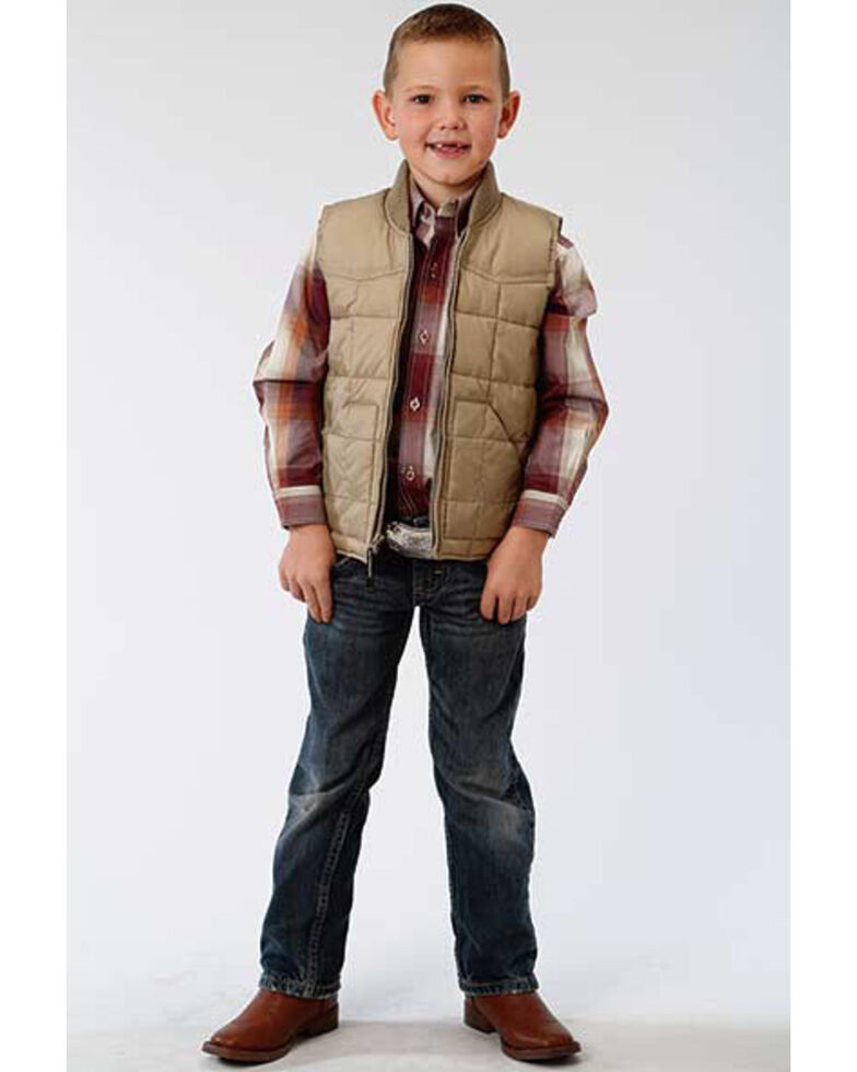 Roper Boys' Tan Rangewear Down Zip Front Vest , Tan, hi-res