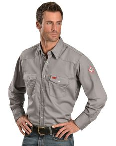 Wrangler Men's FR Lightweight Sateen Work Shirt, Charcoal Grey, hi-res