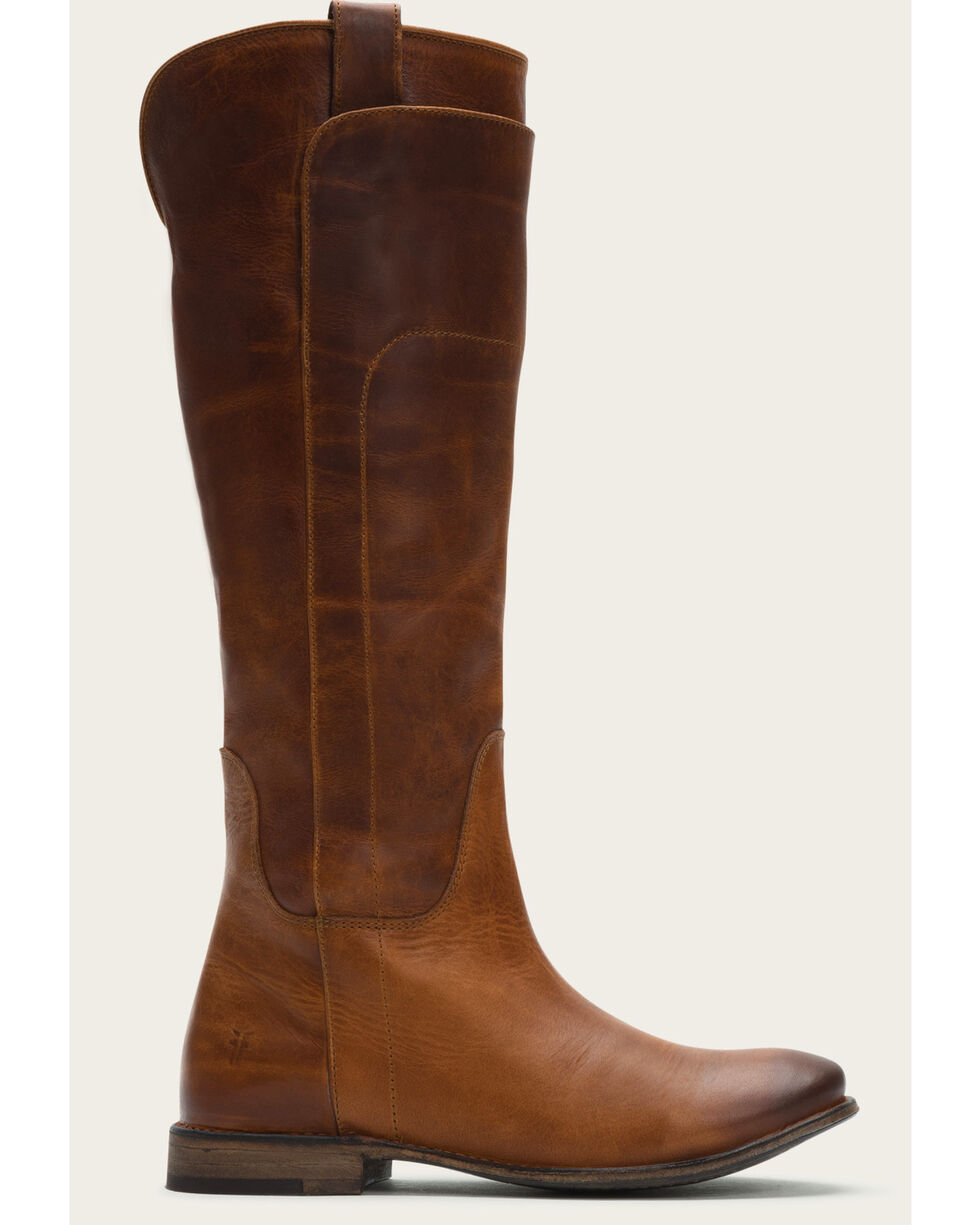 Frye Women's Cognac Paige Tall Riding Boots - Round Toe , Cognac, hi-res