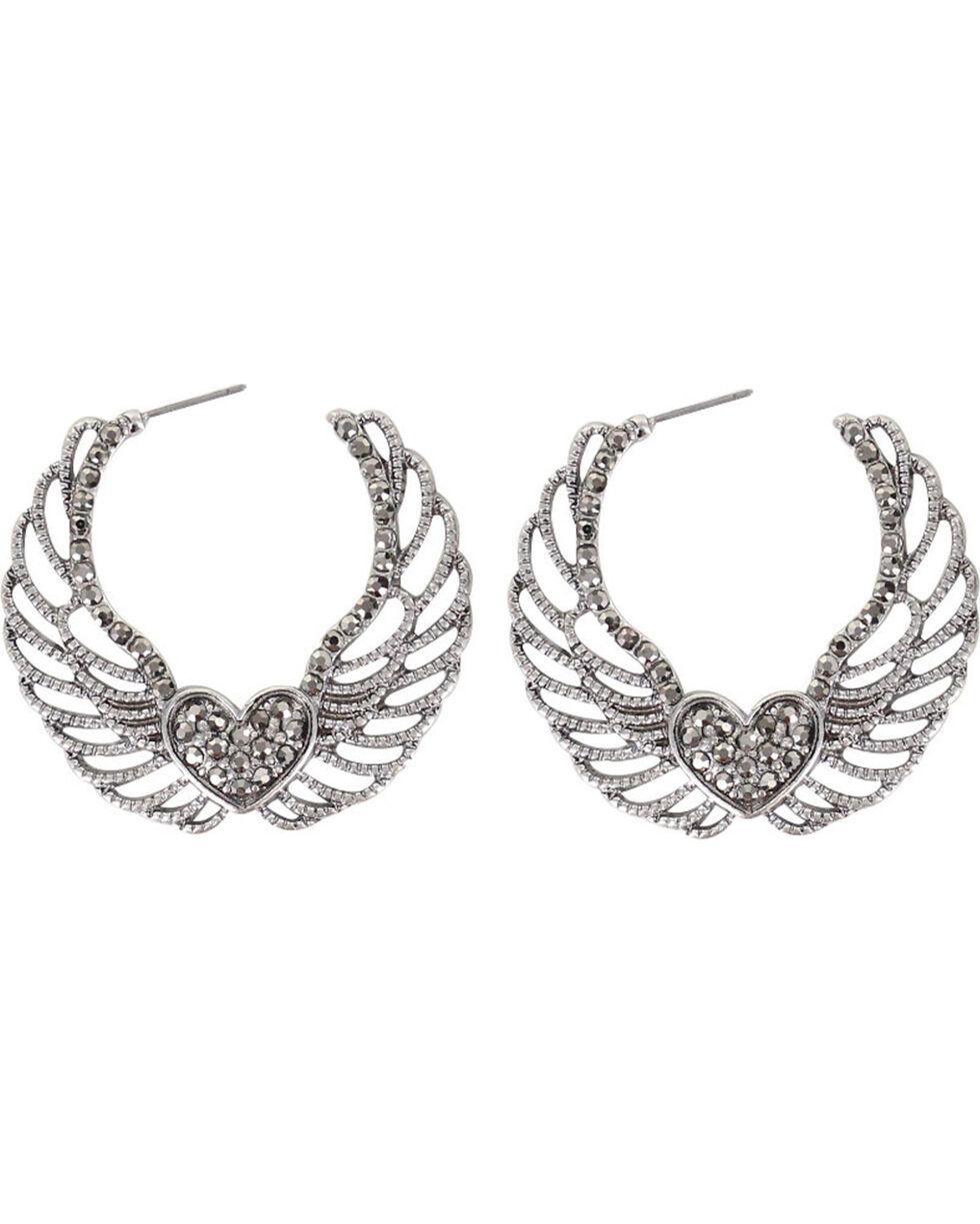 Shyanne® Women's Angel Wing Hoops , Silver, hi-res