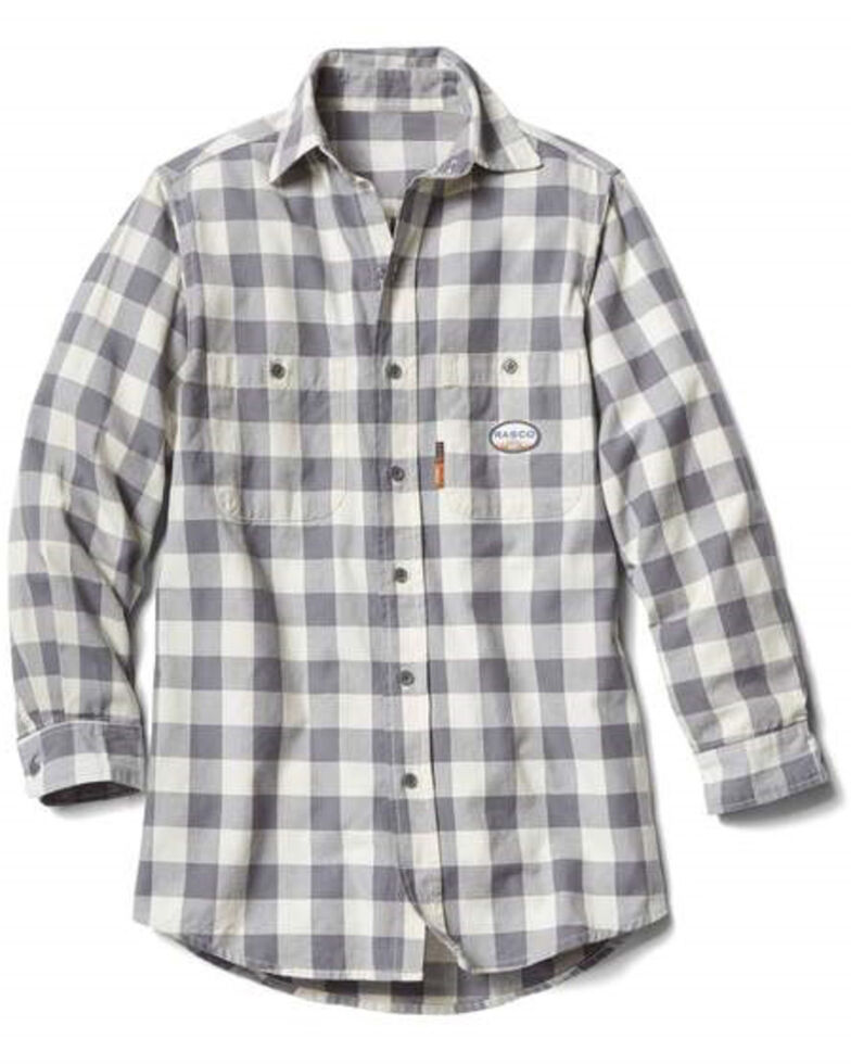 Rasco Men's 3X-5X Flame Resistant White Buffalo Plaid Long Sleeve Work Shirt - Tall , White, hi-res