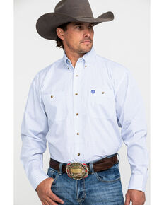 George Strait by Wrangler Men's White Geo Print Long Sleeve Western Shirt , White, hi-res