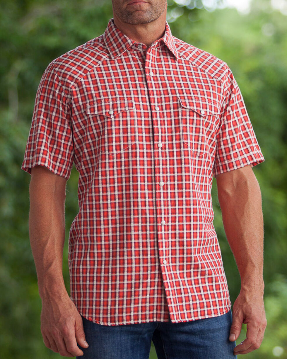Ryan Michael Men's Arrow Dobby Short Sleeve Shirt , Red, hi-res