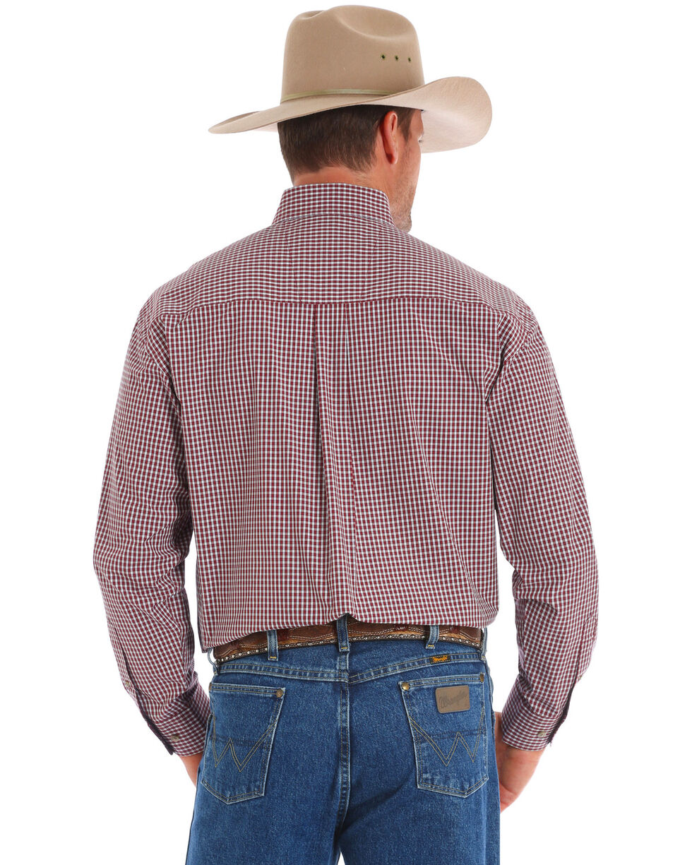 George Strait By Wrangler Wine Small Plaid Long Sleeve Western Shirt , Wine, hi-res