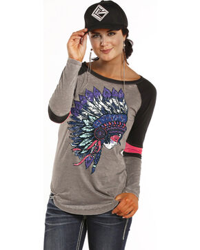 Rock and Roll Cowgirl Headdress Varsity T-Shirt, Grey, hi-res