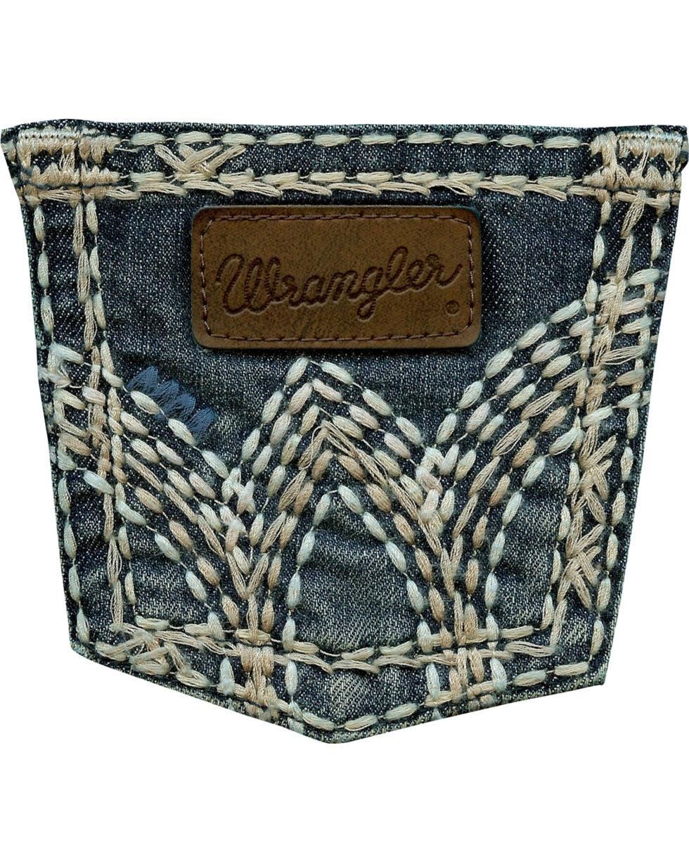 Wrangler Girls' Dark Wash Boot Cut Jeans, Denim, hi-res
