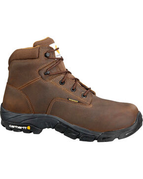 "Carhartt Men's 6"" Waterproof Bison Brown Work Hiker Boots - Round Toe, Chocolate, hi-res"