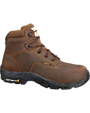 """Carhartt Men's 6"""" Waterproof Bison Brown Work Hiker Boots - Round Toe, Chocolate, hi-res"""
