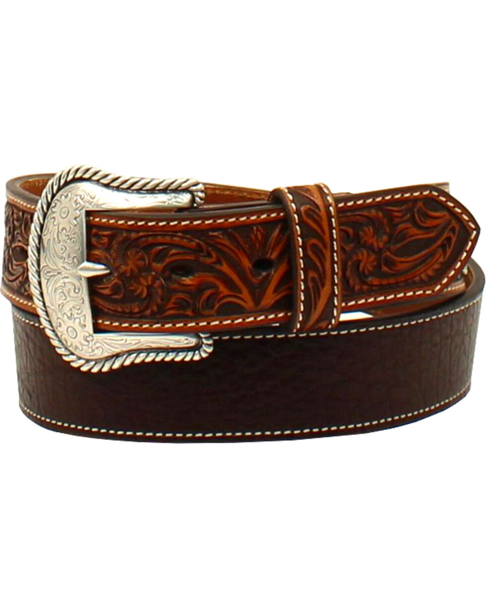 Ariat Men's Round Concho Floral Tabs Belt , Brown, hi-res