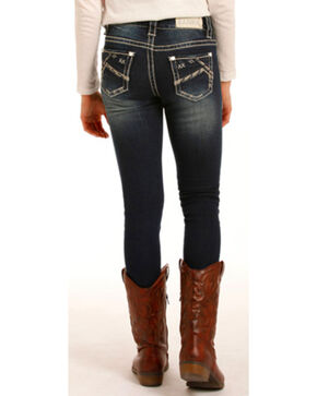 Rock & Roll Cowgirl Girls' Dark Jeans - Skinny , Indigo, hi-res