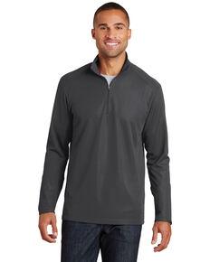 Port Authority Men's Grey Pinpoint Mesh 1/2 Zip Pullover Work Sweatshirt , Grey, hi-res