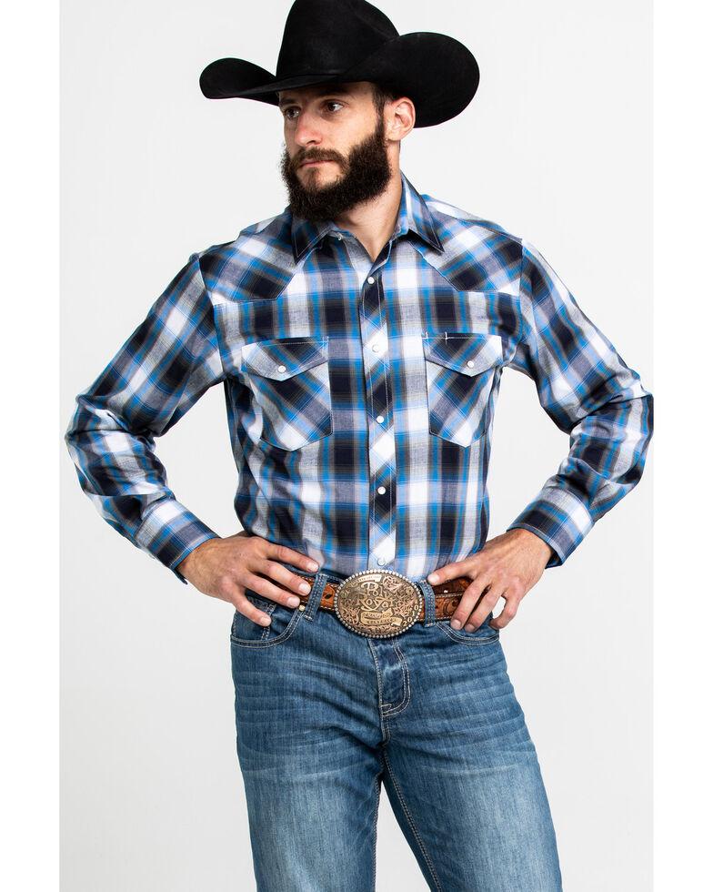 Roper Men's Blue Med Plaid Long Sleeve Western Shirt , , hi-res