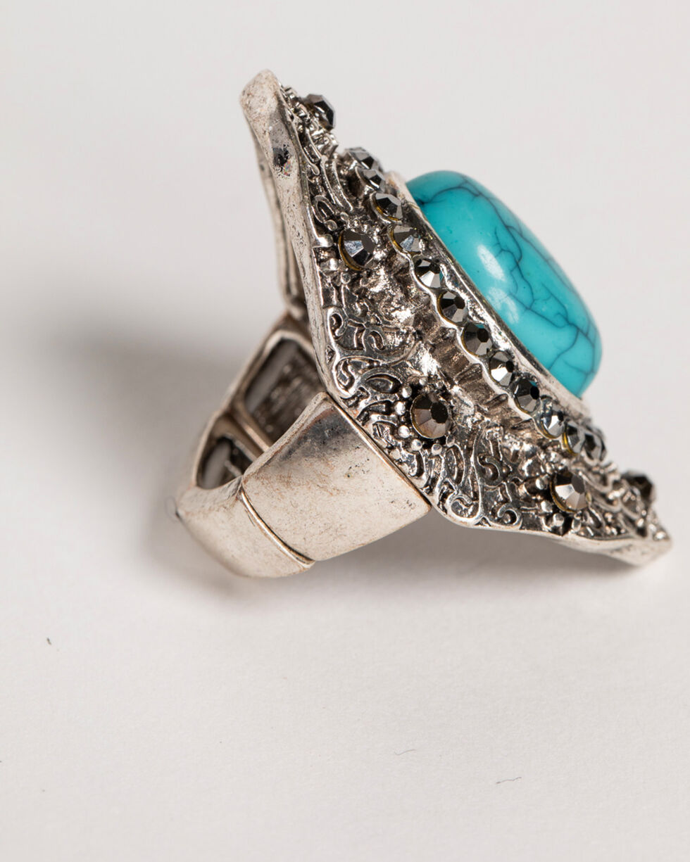 Shyanne® Women's Turquoise Concho Ring , Silver, hi-res
