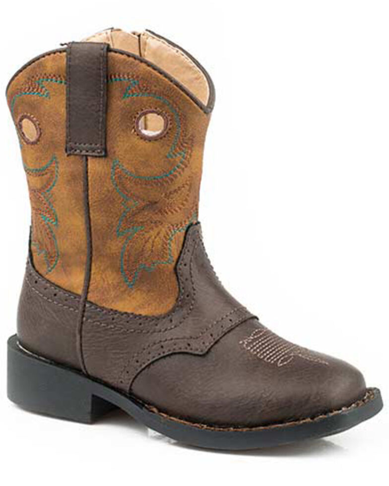 Roper Toddler Boys' Daniel Western Boots - Round Toe, Brown, hi-res