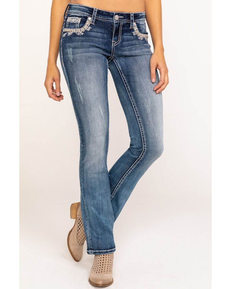 Grace in LA Women's Medium Wash Patchwork Bootcut Jeans, Blue, hi-res