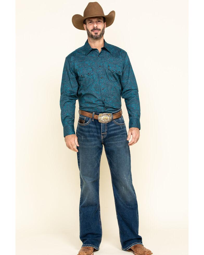 Cinch Men's Modern Fit Navy Tonal Paisley Print Long Sleeve Western Shirt , Navy, hi-res
