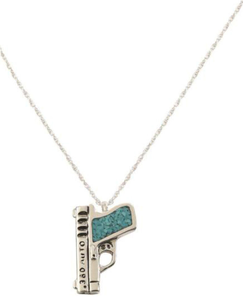 Silver Legends Women's 380 Auto Pistol Necklace , Turquoise, hi-res