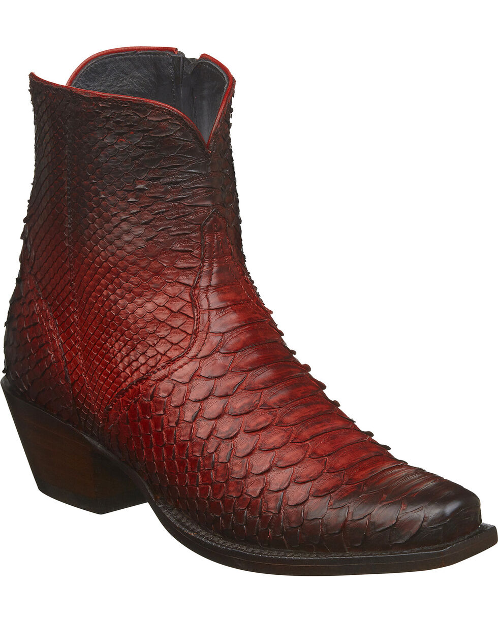 Lucchese Women's Handmade Zita Antique Red Python Booties - Square Toe, Red, hi-res