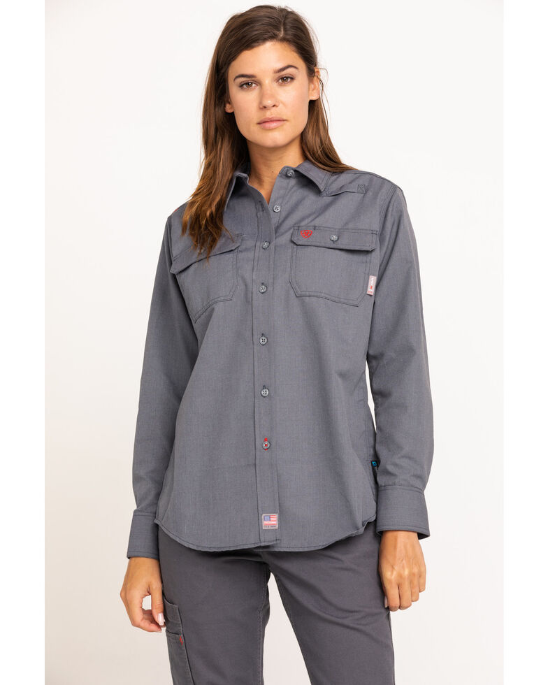 Ariat Women's Gunmetal Featherlight Long Sleeve FR Work Shirt, Grey, hi-res