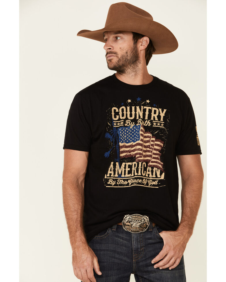 Brothers & Arms Men's Country By Birth Graphic T-Shirt , Black, hi-res