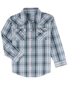 Wrangler Boys' Teal Plaid Long Sleeve Western Shirt , Teal, hi-res