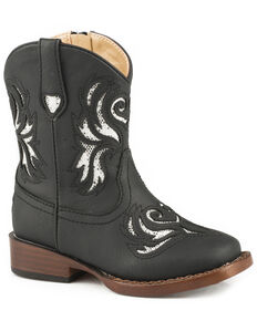 Roper Toddler Girls' Black Glitter Breeze Cowgirl Boots - Square Toe, Black, hi-res