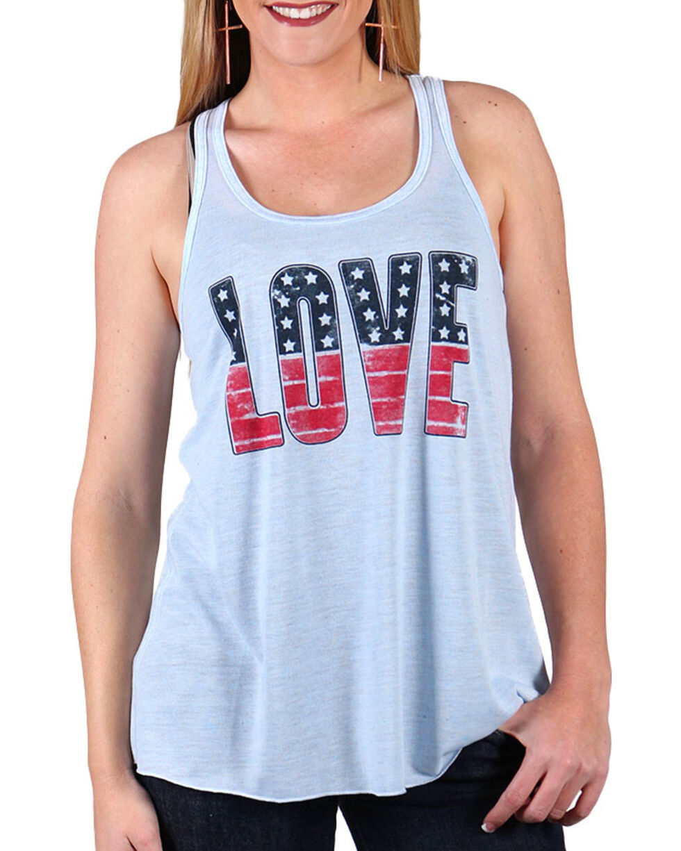 Shyanne® Women's Americana Love Tank, Grey, hi-res