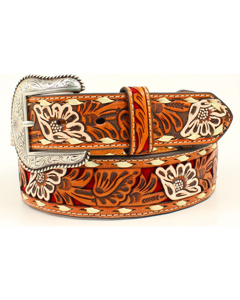 Nocona Men's Red Inlay Floral Embossed Western Belt, Red, hi-res