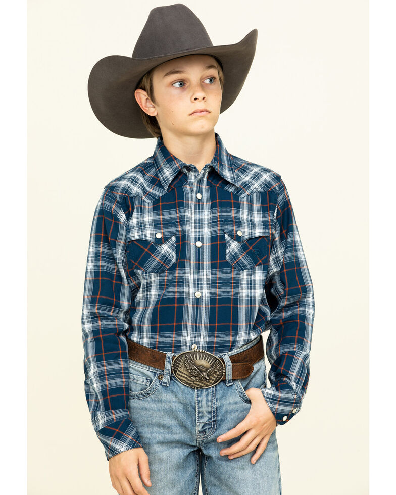 Ariat Boys' Navy Hermosa Retro Plaid Long Sleeve Western Shirt , Blue, hi-res