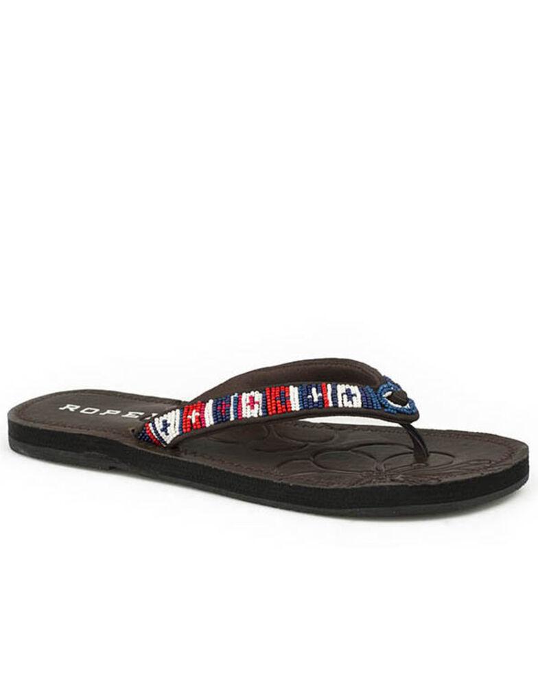 Roper Women's Blue Beaded Strap Sandals, , hi-res