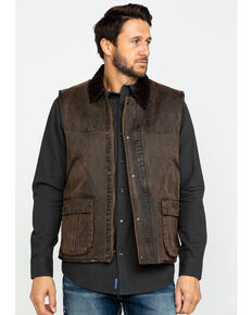 Cripple Creek Men's Enzyme Washed Cotton Concealed Carry Vest , Dark Brown, hi-res