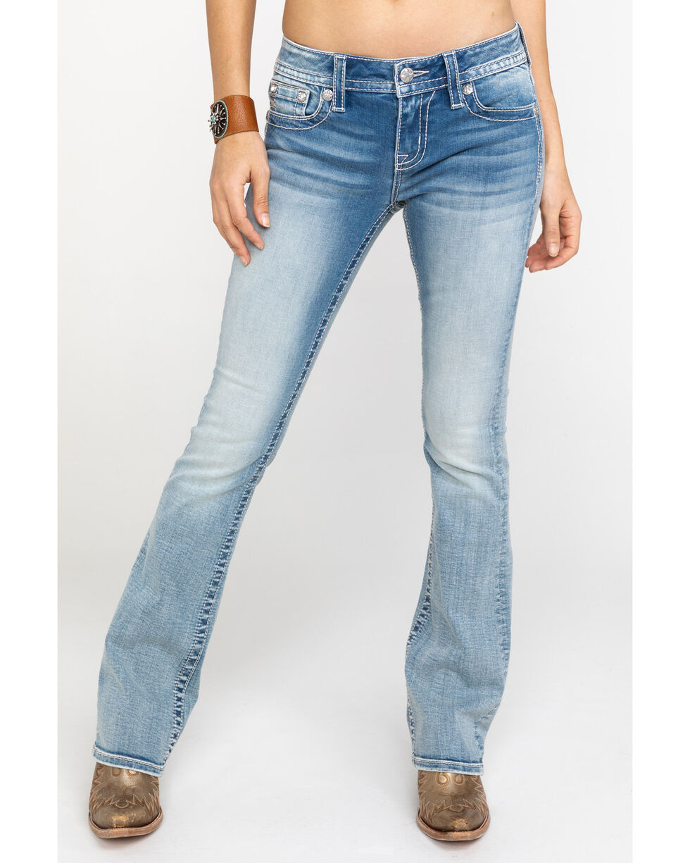 Miss Me Women's Embroidered Wing Pocket Light Boot Jeans , Blue, hi-res