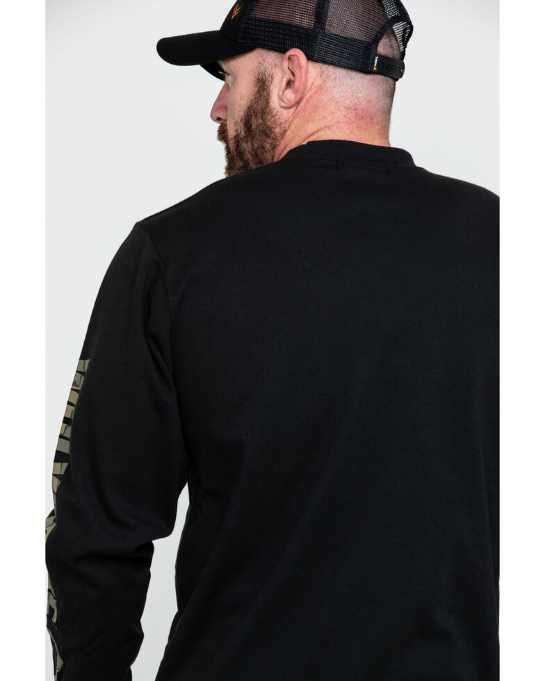 Wolverine Men's Black Sleeve Logo Work T-Shirt , Black, hi-res