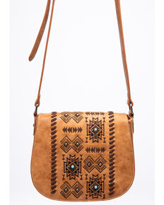 Shyanne Women's Harper Aztec Print Saddle Crossbody Handbag, Brown, hi-res