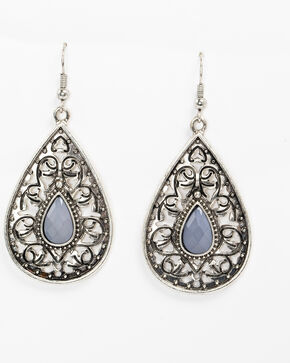 Shyanne Women's Slate Sparkle Filigree Teardrop Stone Earrings, Slate, hi-res