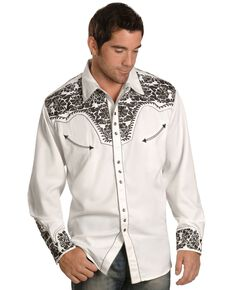 Scully Men's Pewter-Tone Embroidered Retro Long Sleeve Western Shirt - Big & Tall, Pewter, hi-res