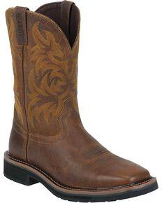 Justin Men's Stampede Pull-On Work Boots, Tan, hi-res