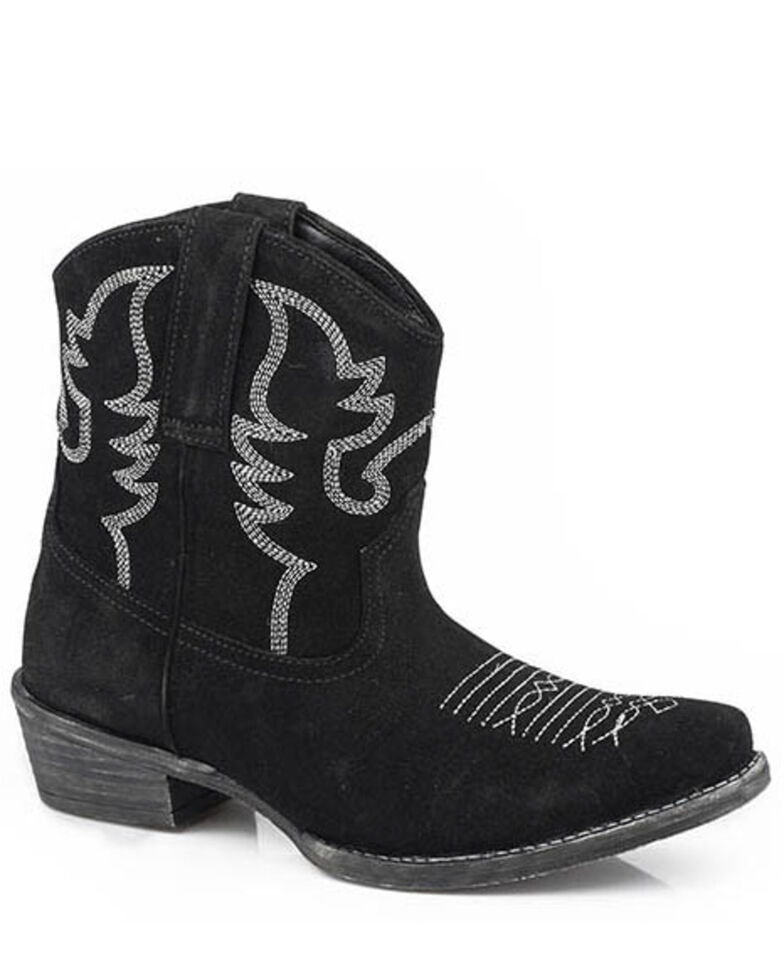 Roper Women's Black Dusty II Suede Western Booties - Snip Toe, Black, hi-res