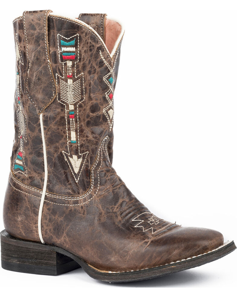 Roper Girls' Arrows Burnished Brown Leather Cowgirl Boots - Square Toe, Brown, hi-res