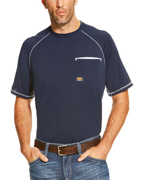 Ariat Men's Navy Rebar Sunstopper Short Sleeve Pocket Tee - Tall, Navy, hi-res